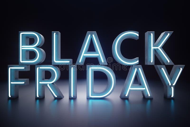 Black Friday - la vente la plus prévue de l'année Bannière 3D bleue au néon Remises grandes Seulement une fois par an, maximum illustration libre de droits