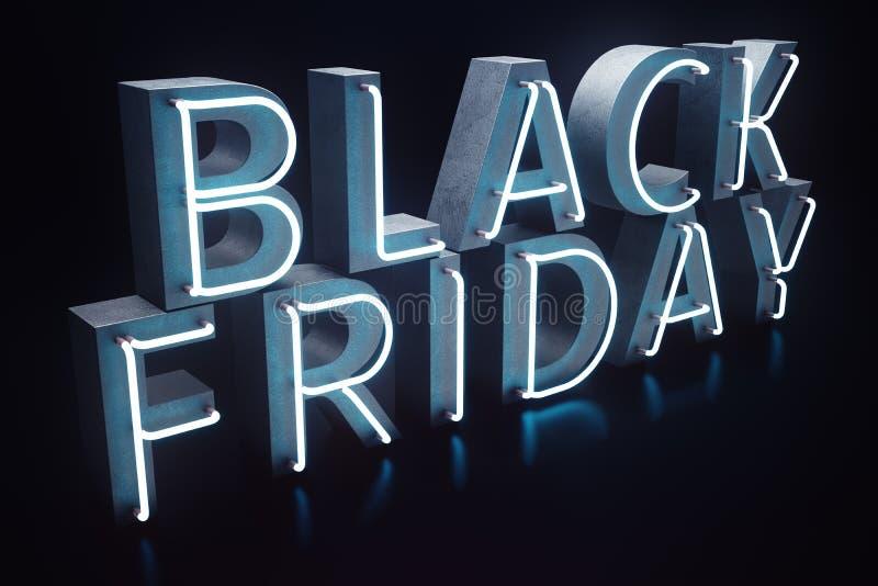 Black Friday - la vente la plus prévue de l'année Bannière 3D bleue au néon Remises grandes Seulement une fois par an, maximum illustration stock