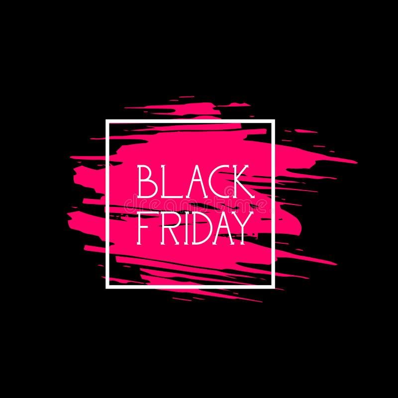 Black Friday Label Big Shopping Promotion Sale Icon, Price Discount Logo On Pink Grunge Background royalty free illustration