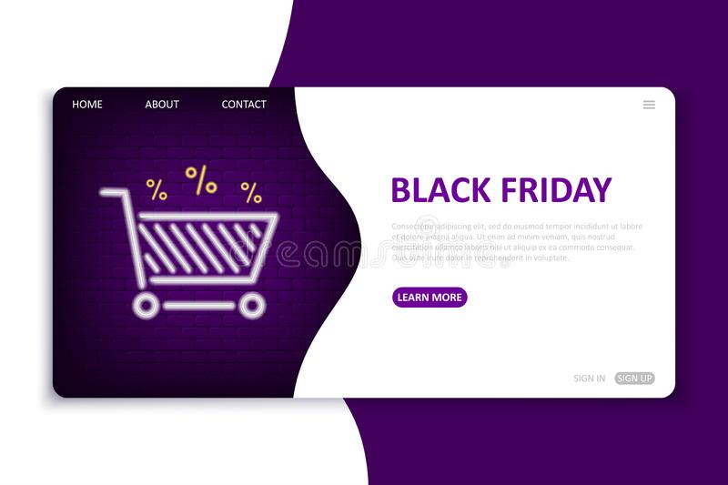 Black Friday landing page. Website template in neon style for seasonal discount theme. Bright neon web site mock up royalty free illustration