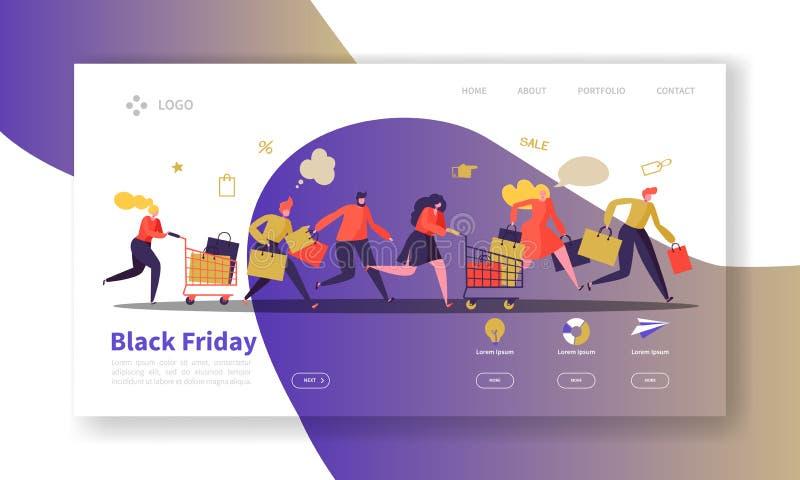 Black Friday-Landungs-Seiten-Schablone Saisonrabatt-Website-Plan mit flachen Leute-Charakteren mit Einkaufstaschen stock abbildung