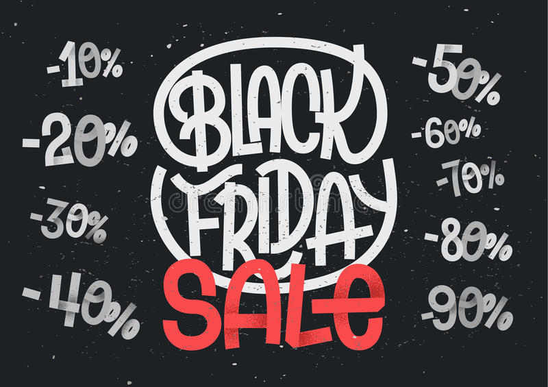 Black Friday lettering with percentage numbers for sales stock illustration