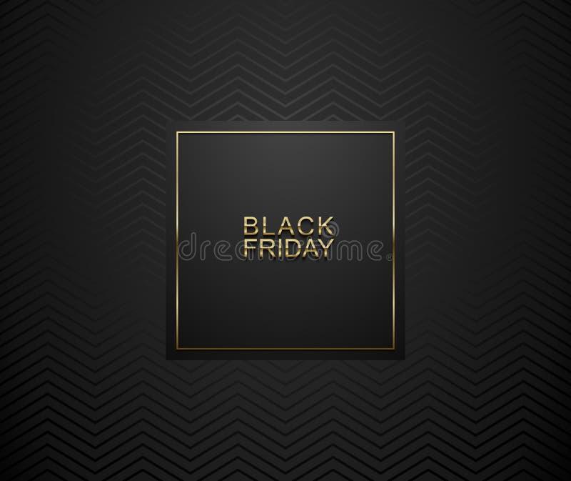 Black Friday luxury banner. Golden text on black square label frame. Dark geometric zigzag pattern background. Vector illustration.  vector illustration