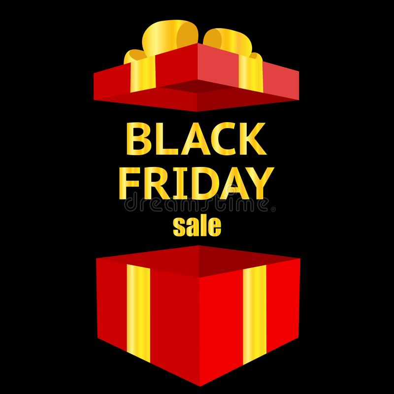 Black Friday, luxury, sale, open gift box, discount, banner vector, bow royalty free illustration