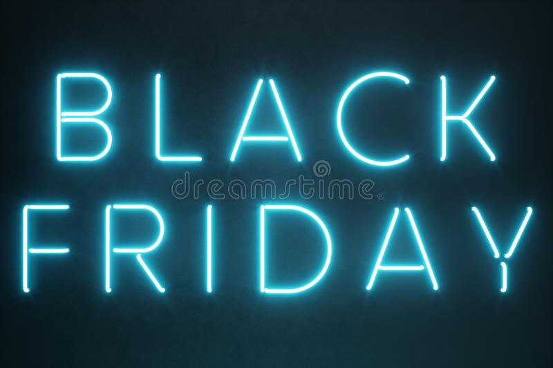 Black Friday - The Most Expected Sale of the Year. Neon blue 3D banner. Grand Discounts. Only once a year, maximum royalty free illustration