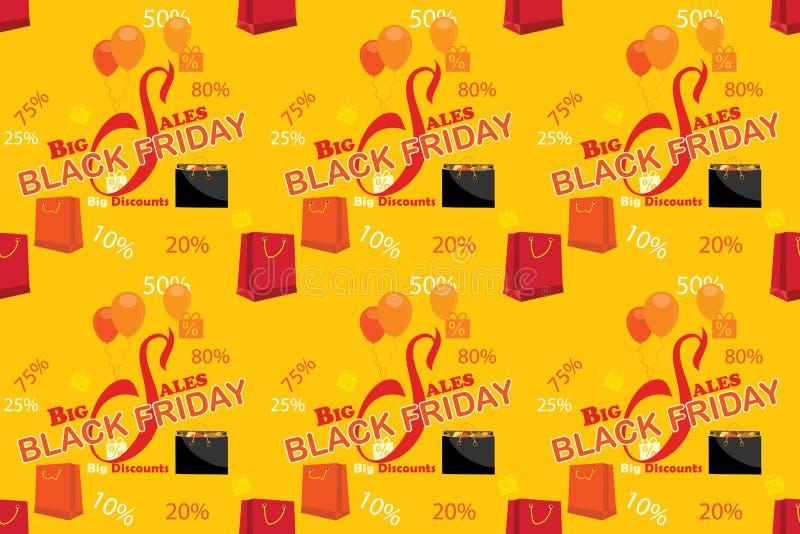 Black Friday-Muster mit Einkaufstaschen, für Druck stock abbildung