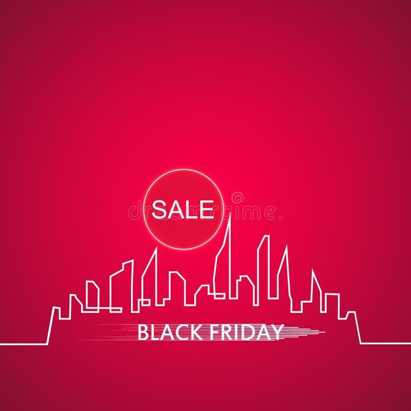 Black Friday na cidade a venda perfeita Bandeira branca da fita no estilo liso em um fundo cor-de-rosa com uma cidade abstrata ilustração royalty free