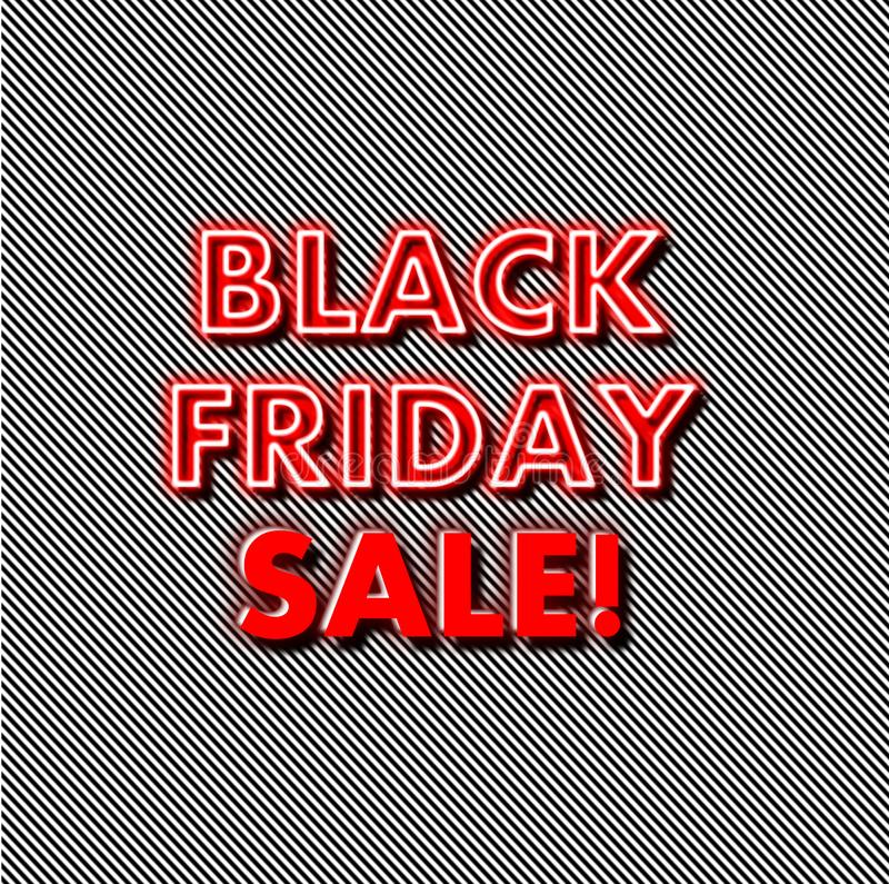 Black Friday neon red glow on strips background stock photo
