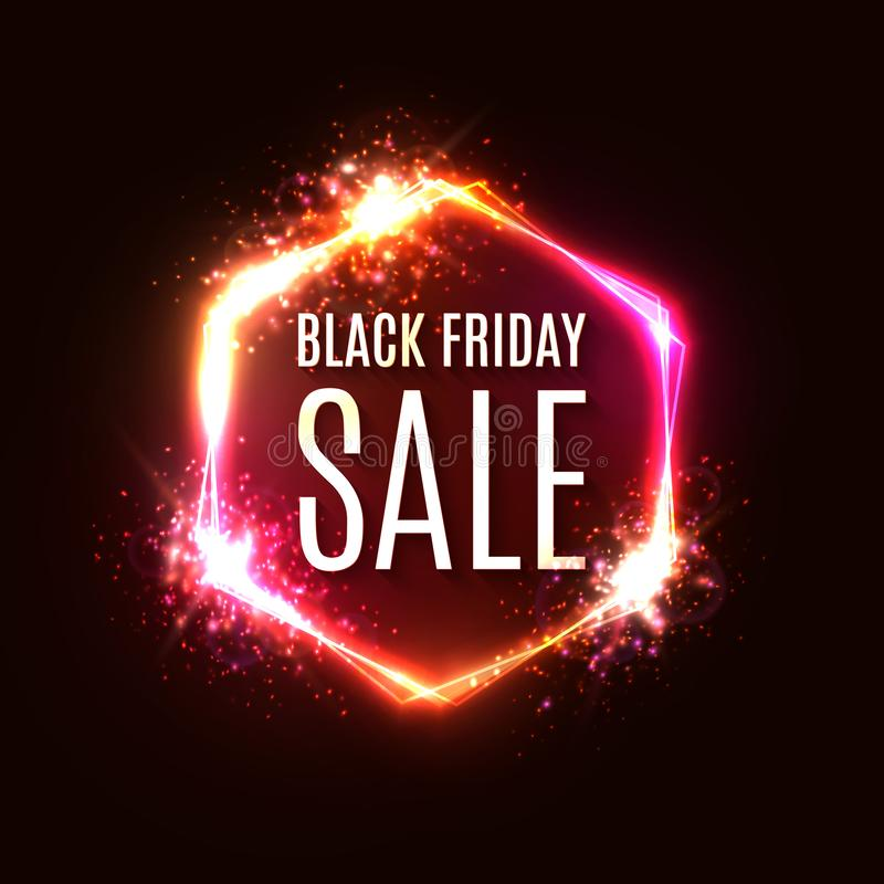 Black Friday neon sign. Banner with explosion effect. Discount card. Black Friday sale design on hexagon background. royalty free illustration