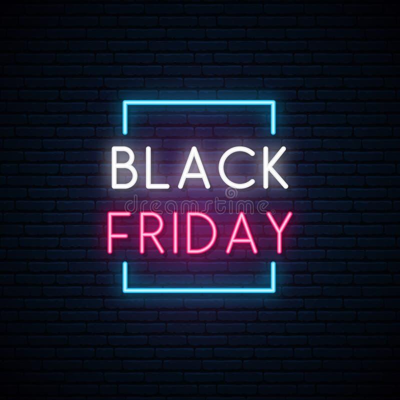 Black Friday neonowy signboard Jaskrawy sprzedaż znak ilustracja wektor