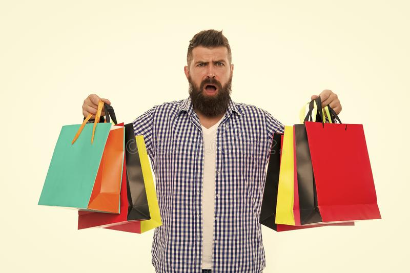 Black Friday. Nice purchase. Cyber Monday. Shopping sale. Male barber care. Mature hipster with beard. Bearded man with stock image