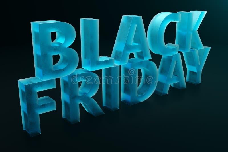 Black Friday - nur einmal jährlich, maximale Rabatte Verkäufe, Freude, Erfolg Der Moment Black Friday-Text auf der Wand vektor abbildung