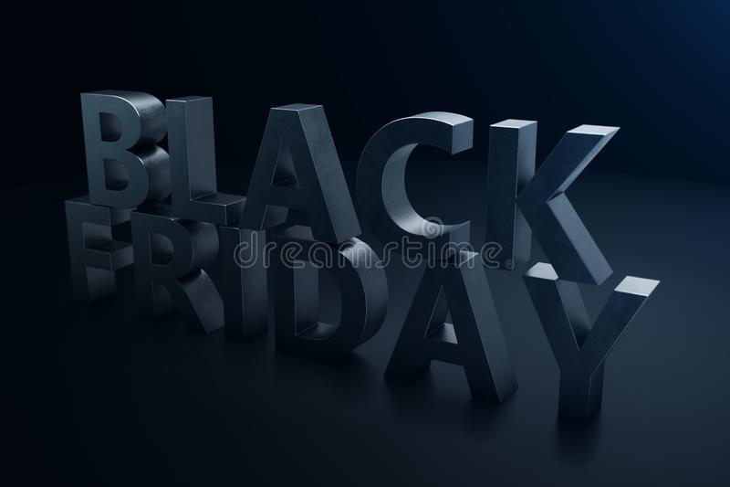 Black Friday - Only once a year, maximum discounts. Sales, joy, success. The moment. Black Friday text on the wall stock illustration
