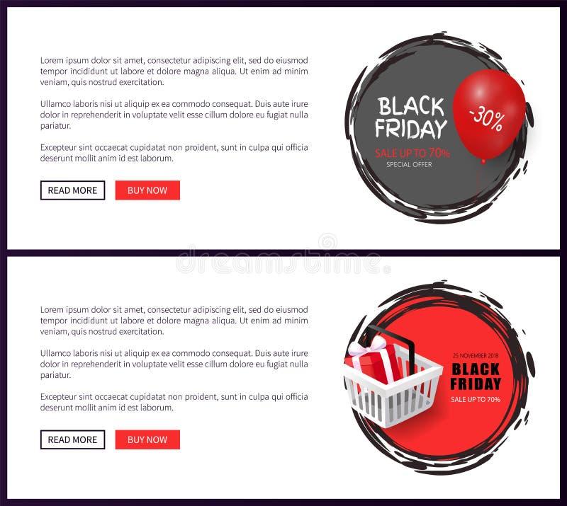 Black Friday, online het Winkelen, Mand en Ballon stock illustratie