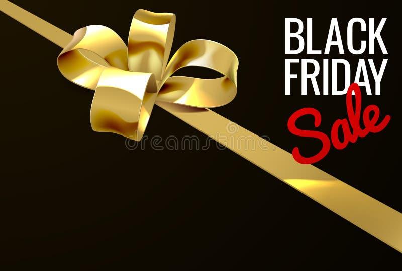 Black Friday-Ontwerp van de de Giftboog van het Verkoop het Gouden Lint royalty-vrije illustratie