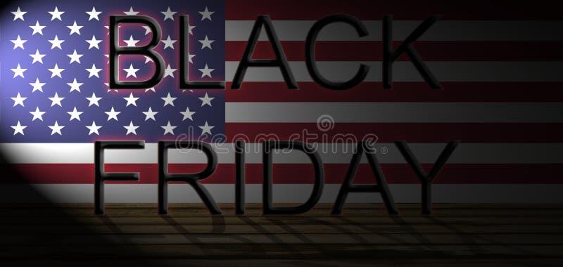 Black Friday op de vlag van de V.S. en houten vloer, selectief licht vector illustratie