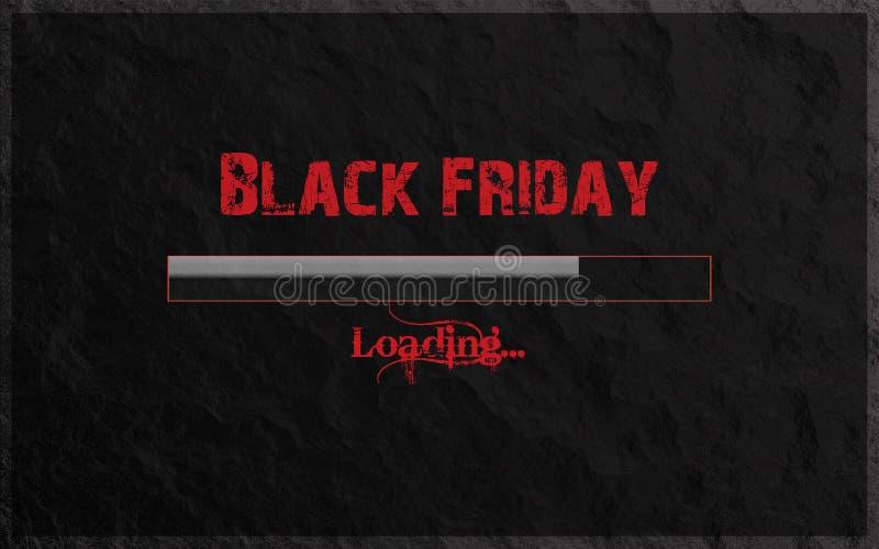 Black Friday päfyllning som är skriftlig i röd text- och lutningpäfyllningsstång på stenbakgrund Kall modern svart och Gray Backg royaltyfria bilder