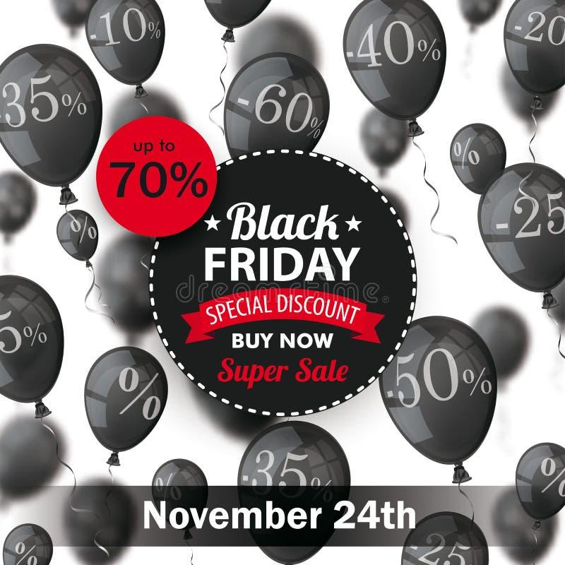 Black Friday Circle Label Balloons Percents 24 November stock illustration