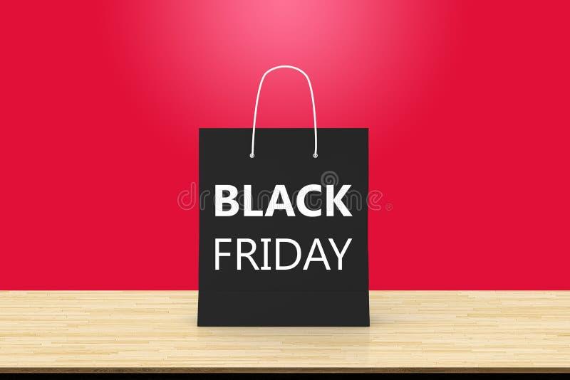 Black Friday-Papiereinkaufstasche auf hölzernem Tabellenhintergrund repres stock abbildung