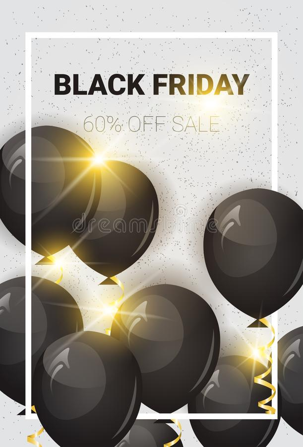 Black Friday 60 Percent Off Sale Poster With Air Balloons Over White Background Shopping Flyer Holiday Promotion And vector illustration