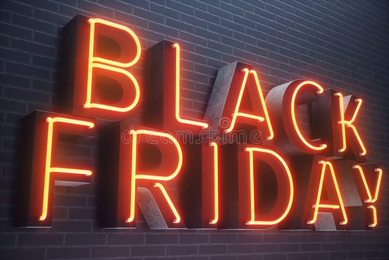 Black Friday, Piątek z dużą sprzedażą - Sprzedaże, radość, sukcesu Neonowy Czerwony sztandar, rabaty, 3D ilustracja royalty ilustracja
