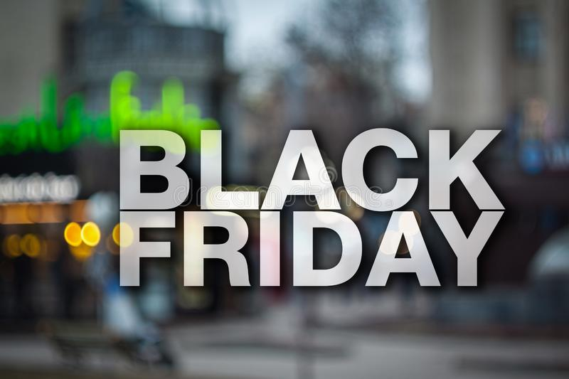 Black friday poster. Gorgeous blurry background. Sale banner stock image