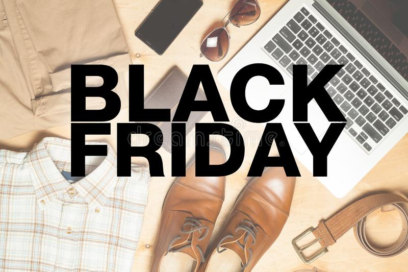Black friday poster. Casual fashionable stuff on a background royalty free stock photo