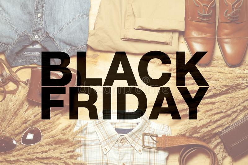 Black friday poster. Casual fashionable stuff on the background royalty free stock image