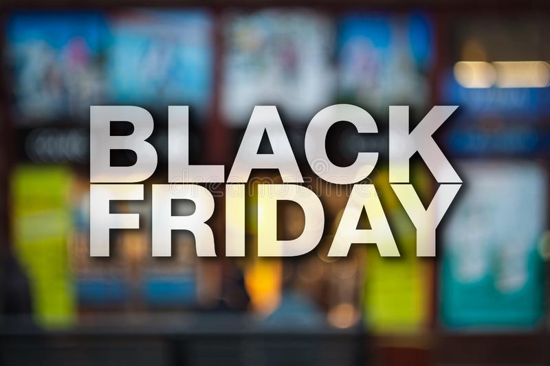 Black friday poster. Gorgeous blurry background. Sale banner royalty free stock image