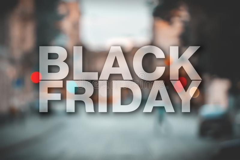Black friday poster. Gorgeous blurry background. Sale banner stock photo