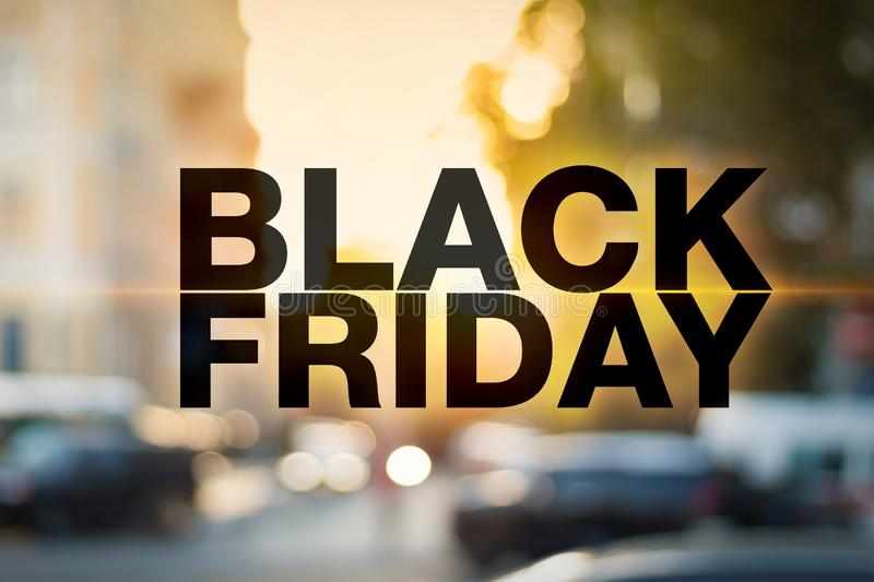 Black friday poster. Gorgeous blurry background. Sale banner royalty free stock photo