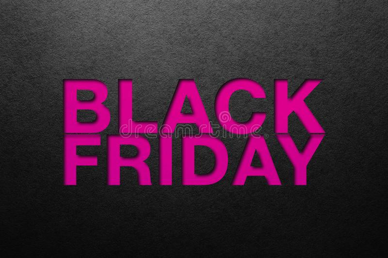 Black friday poster. Paper texture. Material design stock photography