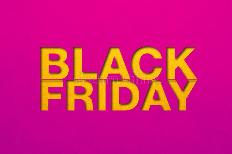 Black friday poster. Paper texture. Material design royalty free stock photos