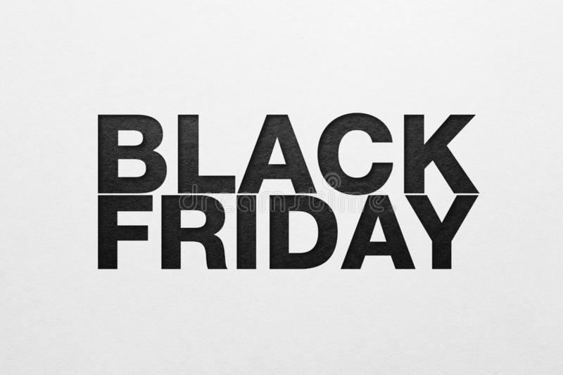 Black friday poster. Paper texture. Material design royalty free stock photography