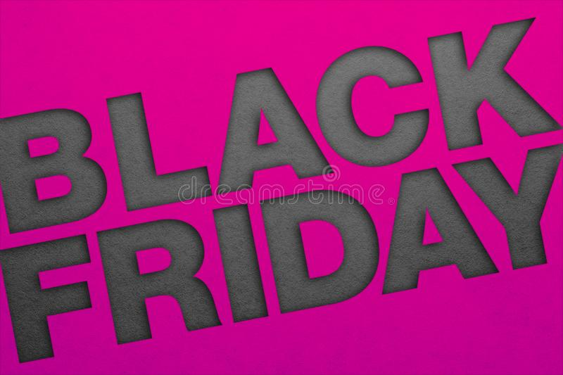 Black friday poster. Paper texture. Material design royalty free stock images