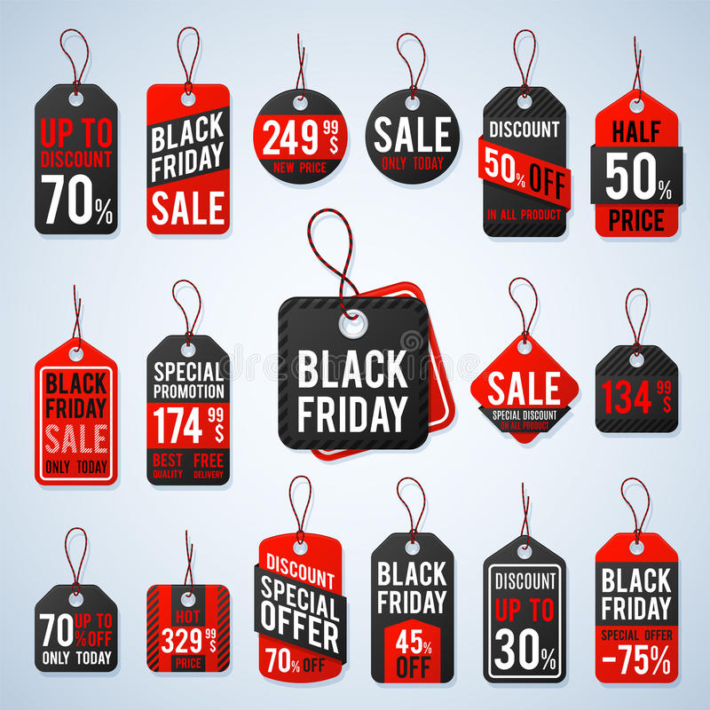 Black friday pricing tags and promotion labels with cheap prices and best offers. Retail vector sign royalty free illustration