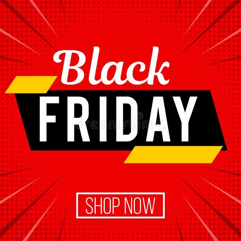 Black Friday red sale banner vector illustration