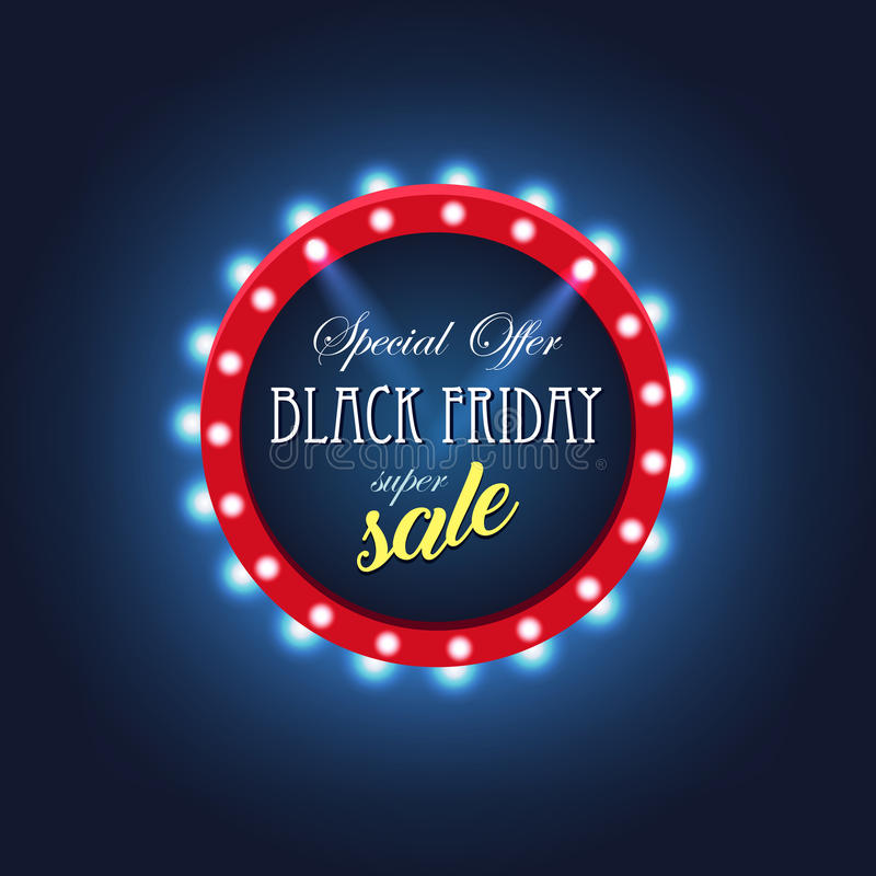 Black Friday retro ljus ram försäljning varmt avtal vektor illustrationer