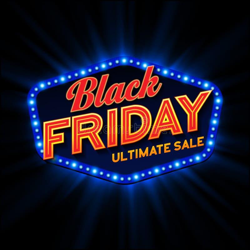 Black Friday retro ljus ram vektor stock illustrationer