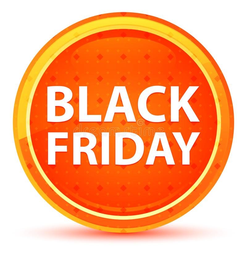 Black Friday Round Naturalny Pomarańczowy guzik ilustracja wektor