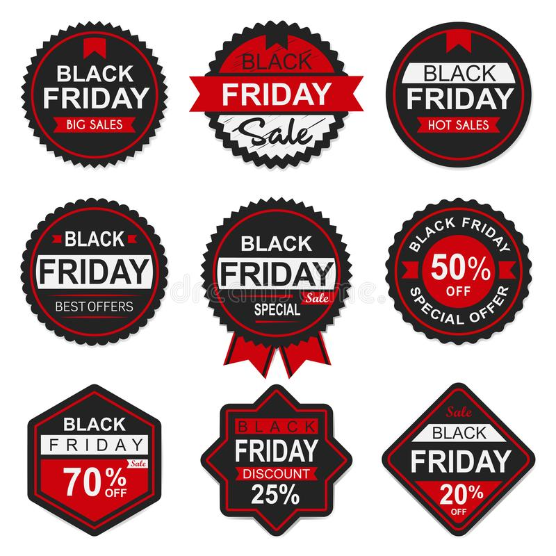 Black friday sale tag and label stock photos