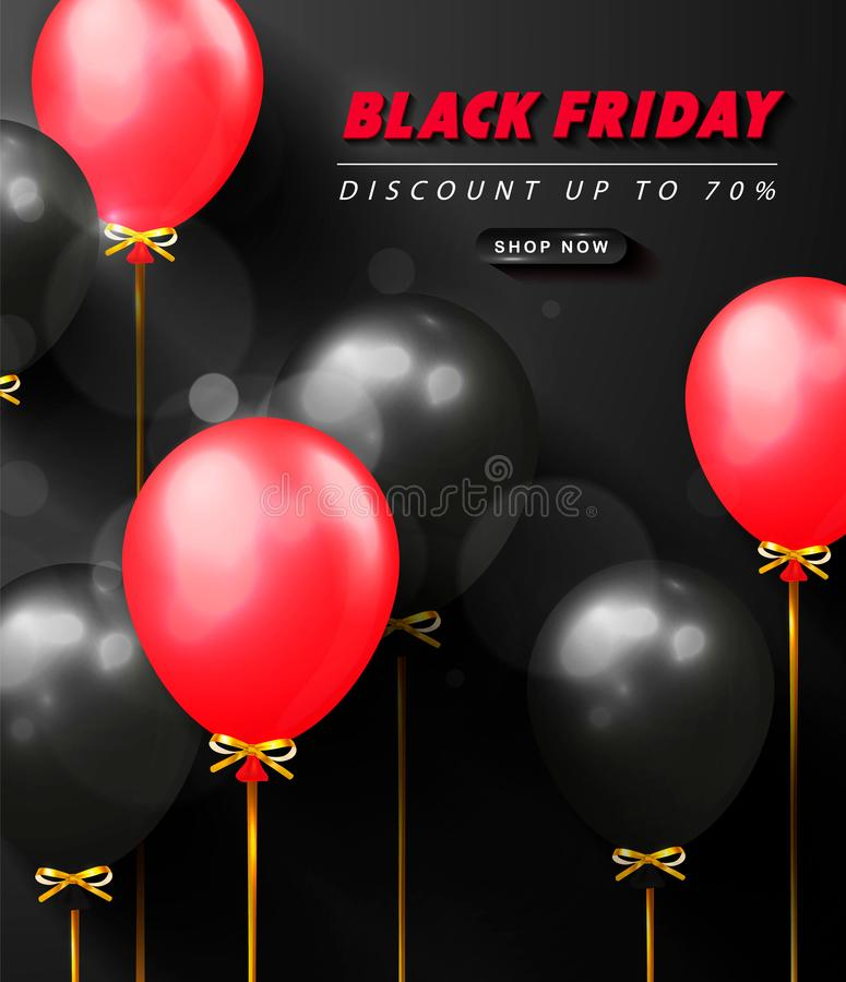Black friday sale advertising poster with black and red balloons . Modern design.Universal vector background for banners royalty free illustration
