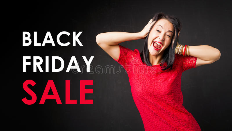 Black Friday Sale affisch med kvinnan som skriker i röd klänning arkivfoton