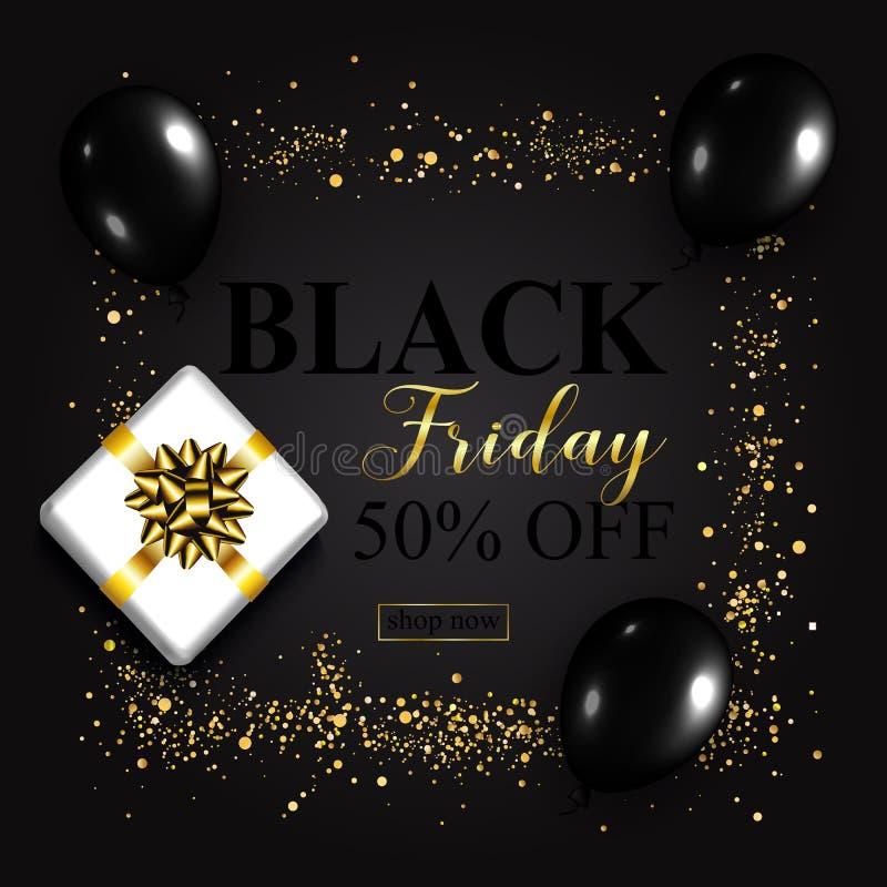 Black Friday Sale affisch med skinande ballonger, gåvaask på svart vektor illustrationer