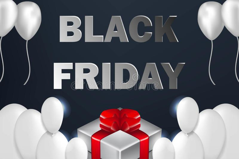 Black Friday Sale affisch med skinande ballonger på mörk bakgrund med gåvaasken arkivfoton