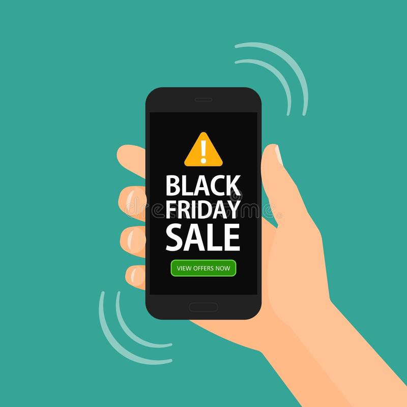 Black Friday Sale alert on mobile smart phone illustration. Hand holding a mobile cell phone with an alert reminder on Black Friday Sale illustration royalty free illustration