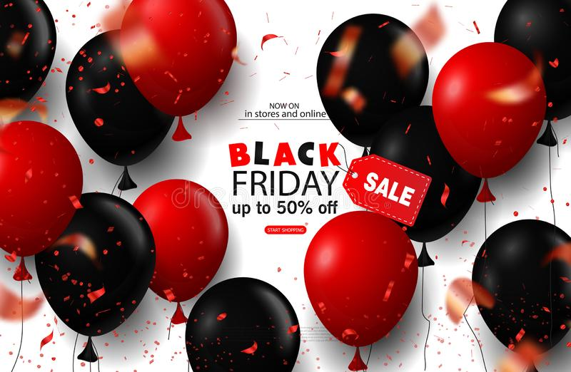 Black friday sale background with balloons and serpentine. Modern design.Universal vector background for poster, banners stock illustration