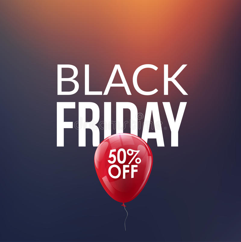 Black Friday Sale background. Discount balloon 50 percents. Special offer backdrop. New year discounts. royalty free illustration