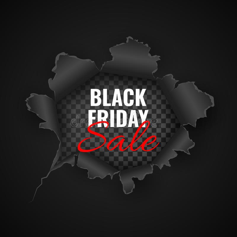 Black Friday sale background. Hole in black paper. Vector illustration vector illustration