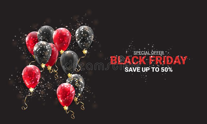Black friday sale background with black and red balloons and flying golden serpentine. Modern design.Universal vector background vector illustration